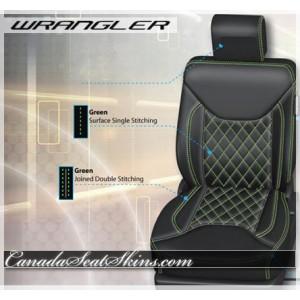 2013 - 2016 Jeep Wrangler Green Diamond StitchedLeather Seats
