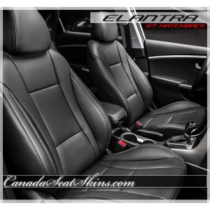 2013 - 2017 Hyundai Elantra GT Hatchback Black Katzkin Leather Seats