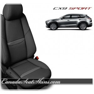 2017 Mazda CX9 Sport Black Charcoal Katzkin Leather Seats