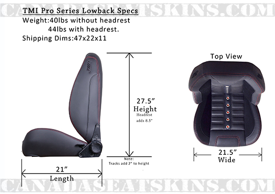 TMI Sport XRS Low Back Bucket Seats