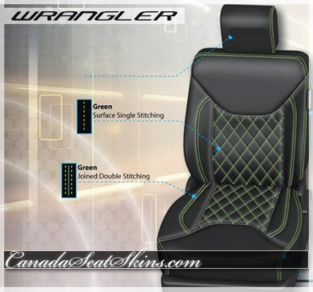 2013 - 2016 Jeep Wrangler Green Diamond StitchedLeather Seats