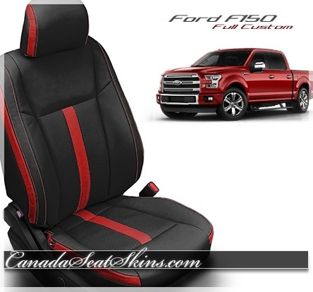2015 - 2019 F150 Custom Katzkin Black and Red Leather Seats