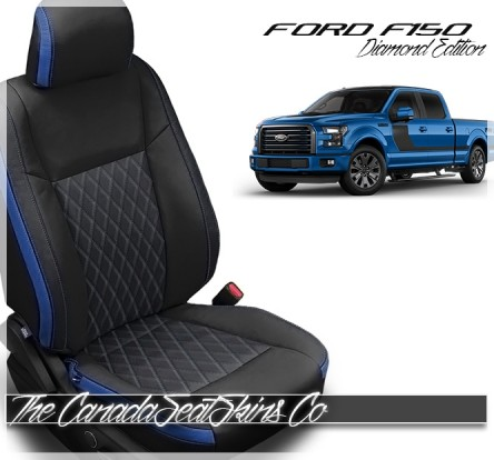 2015 - 2020 Ford F150 Crew Cab Tekstitch Blue Leather Interior Promotion