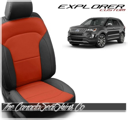 2016 - 2019 Ford Explorer Black and Salsa Red Custom Leather Seats