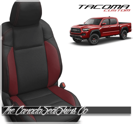 2016 - 2021 Toyota Tacoma Black and Red Custom Leather Seats