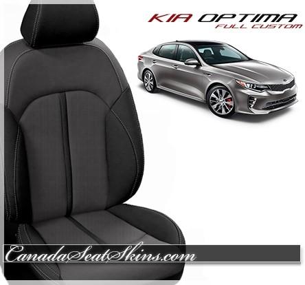2016 - 2019 Kia Optima Black and Grey Katzkin Leather Seats