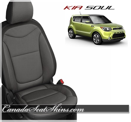 2014 - 2018 Kia Soul Black with Charcoal Katzkin Leather Seats
