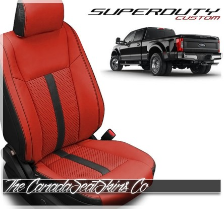 2017 - 2020 Ford F250 F350 F450 F550 Black Red Face Custom Leather Interior