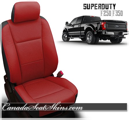 2017 2019 ford f250 f350 custom leather upholstery 2017 F350 Dually 2017 2019 ford f250 f350 katzkin custom salsa red leather seats