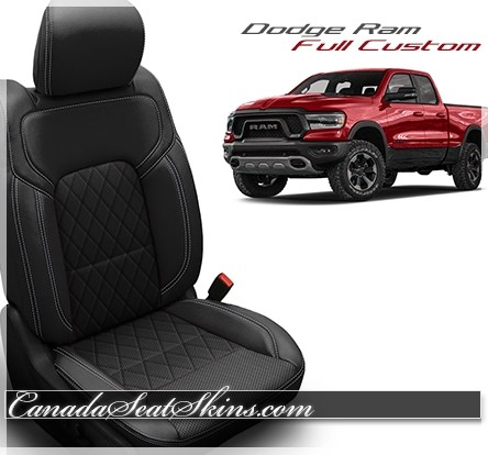 2019 - 2021 Dodge Ram Katzkin Tekstitch Black Diamond Leather Seats