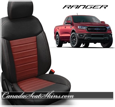 2019 Ford Ranger Custom Black with Medium Red Leather Seats
