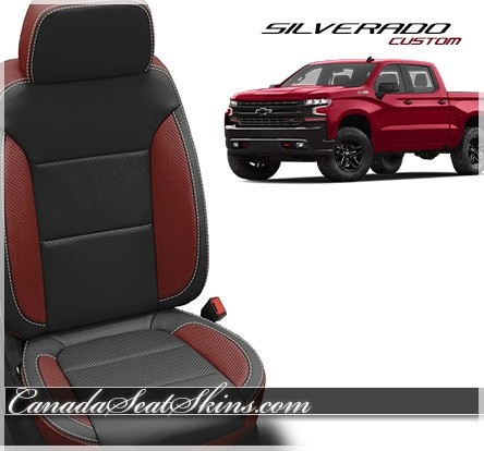 2019 Chevrolet Silverado Black and Medium Red Custom Leather Seats