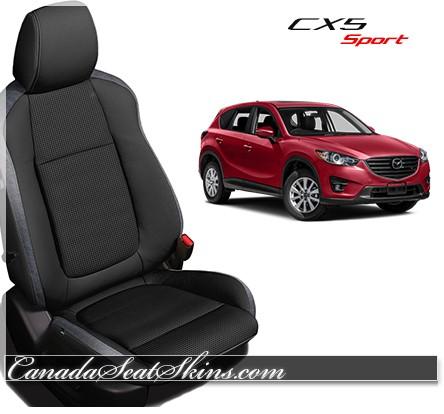 2013 - 2015 Mazda CX5 Black and Silver Katzkin Leather Seats