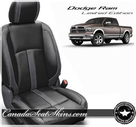 2013 - 2018 Dodge Ram Katzkin Black Charcoal Leather Seats