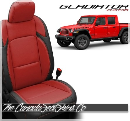 Jeep Gladiator Black with Red Leather Seats