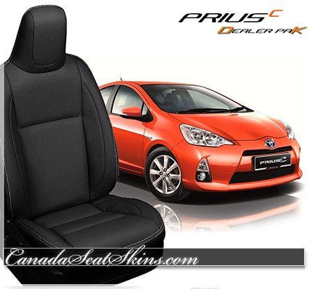 2012 - 2017 Toyota Prius C Black Leather Katzkin Seats
