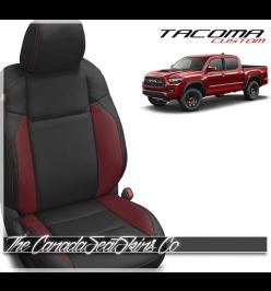 2016 - 2021 Toyota Tacoma Black and Red Custom Leather Seats