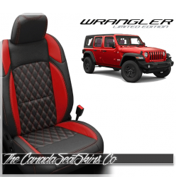 2018 - 2021 Jeep Wrangler JL Katzkin Tekstitch Red Leather Seats