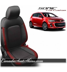 2012 - 2018 Chevrolet Sonic Katzkin Black with Red Leather Seats