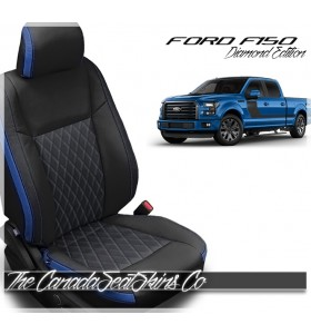 2015 - 2020 Ford F150 Crew Cab Tekstitch Blue Leather Interior Promotion