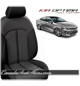 2016 - 2019 Kia Optima Black and Grey Katzkin Leather Seats