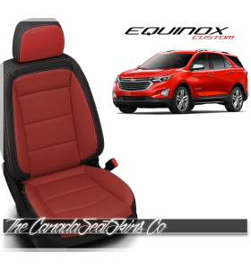 2018 - 2021 Chevrolet Equinox Custom Black and Red Leather Seats