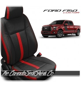 2015 - 2020 F150 Custom Katzkin Black and Red Leather Seats