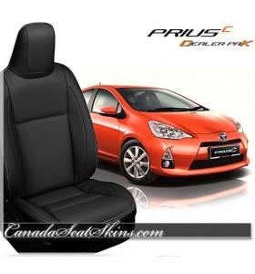 2012 - 2017 Toyota Prius C Black Leather Katzkin Seats