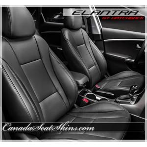 2013 - 2017 Hyundai Elantra GT Hatchback Black Katzkin Leather Seats