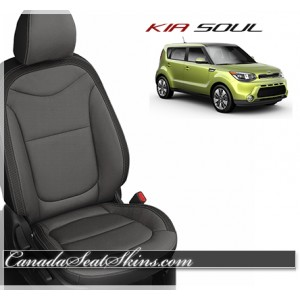 2014 - 2018 Kia Soul Black with Charcoal Katzkin Leather Seats