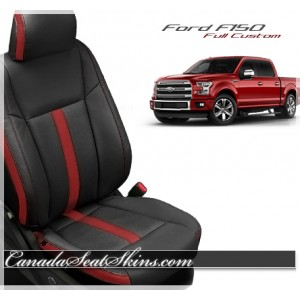 2015 - 2019 F150 Katzkin Black and Red Leather Seats