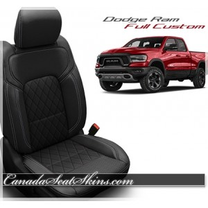 2019 - 2020 Dodge Ram Katzkin Tekstitch Black Diamond Leather Seats