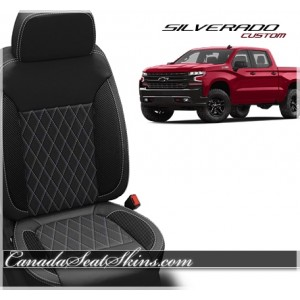 2019 Chevrolet Silverado Crew Cab Katzkin Tekstitch Single Diamond Stitched Seats