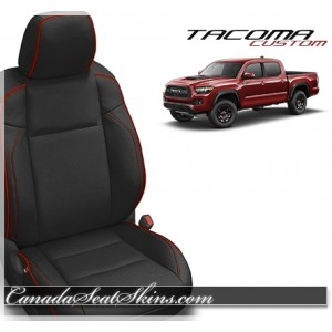 2015 - 2019 Tacoma Black with Red Piped Custom Leather Seats