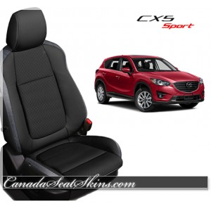 2013 - 2015 Mazda CX5 Black and Silver Katzkin Leather Seats