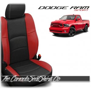 2009 - 2013 Dodge Ram Sport Black and Salsa Red Custom Leather Seats