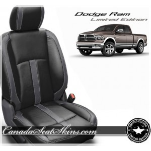 2013 - 2018 Dodge Ram Katzkin Black Charcoal Leather Seats