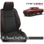 2016 - 2021 Toyota Tacoma Black and Red Piped Custom Leather Seats