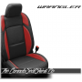 2018 - 2020 Jeep Wrangler Black with Cardinal Wings Katzkin Leather Seats