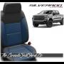 2019 - 2021 Silverado Katzkin Black and Pacific Blue Designer Leather Seats