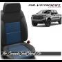 2019 - 2021 Silverado Katzkin Black and Pacific Blue Leather Seats