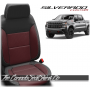 2019 - 2021 Silverado Katzkin Black and Medium Red Wing Leather Seats