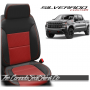 2019 - 2021 Silverado Katzkin Black and Red Combo Leather Seat Design