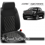 2019 - 2021 GMC Sierra Black Carbon Double Diamond Stitched Leather Seats