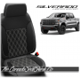 2019 - 2021 Chevrolet Silverado Katzkin Black Carbon Double Diamond Stitched Leather Seats