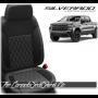 2019 - 2020 Chevrolet Silverado Katzkin Black Carbon Single Diamond Stitched Leather Seats