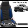 2019 - 2021 Chevrolet Silverado Katzkin Cobalt Blue Double Diamond Stitched Leather Seats