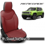 Jeep Renegade Black and Cardinal Red Custom Leather Seats