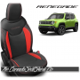 Jeep Renegade Black and Salsa Red Custom Leather Seats