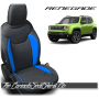 Jeep Renegade Black and Sapphire Suede Custom Leather Seats